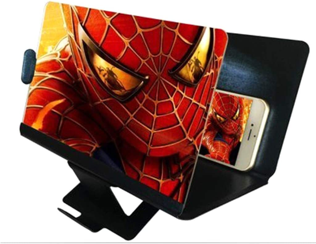Color : White Xiao Jian Cell Phone Stand Phone Holder 3D Phone Screen Magnifier Stereoscopic Amplifying Desktop Foldable Leather Bracket Mobile Holder Tablet Holder Mobile Phone Holder