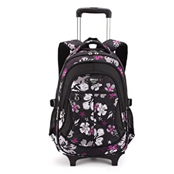 Kids Rolling Backpack - Wheeled Backpack with Rain Cover for ...