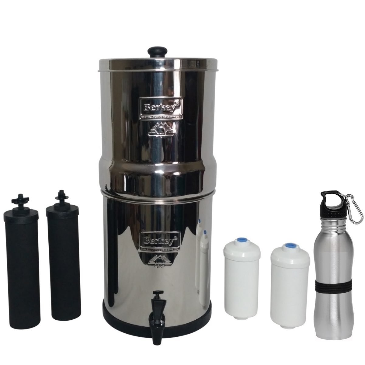 Big Berkey Water Filter 2 Gallon System Bundle: 2 Black BB9 Filters, 2 Fluoride PF2 Filters, 1 Stainless Steel Water Bottle