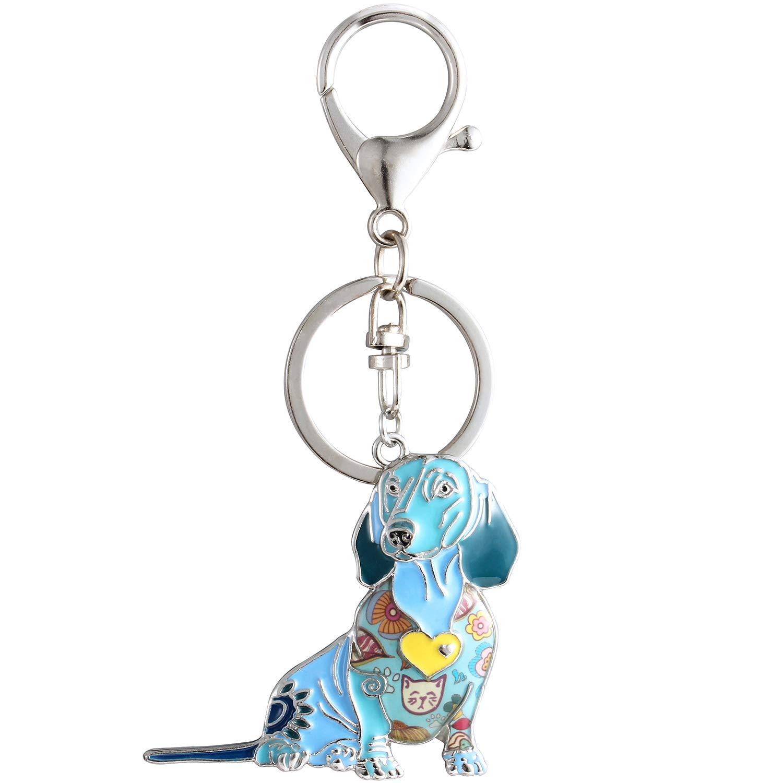Luckeyui Personalized Dachshund Gift Keychains for Women Blue Enamel Dog Keyrings