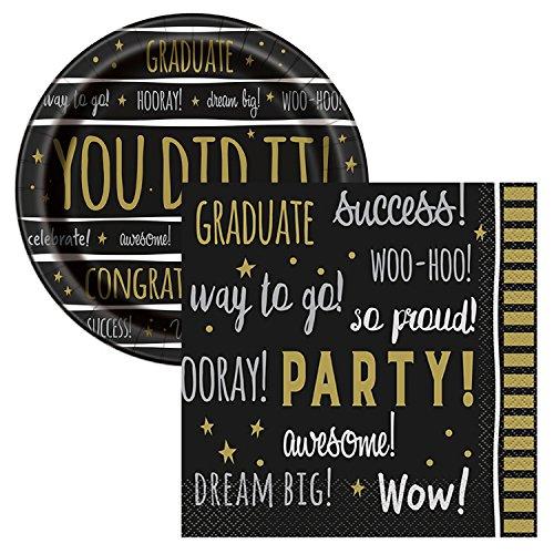You Did It Graduation Celebration Party Tableware Plate and Napkin Set Serves 16 Graduation Tableware