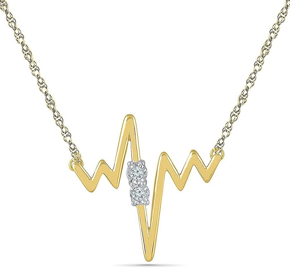 Sterling Silver Yellow Plated White Round Diamond heart beat necklace (0.05 Cttw)
