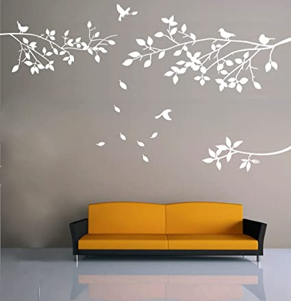 Elegant Tree And Birds Wall Decal Art Branch Wall Sticker Living Room  Decoration (White,