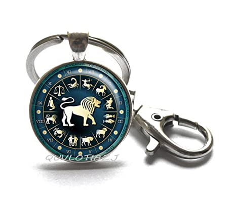 Amazon.com: Leo azul rueda llavero, Leo llavero, la joyería ...