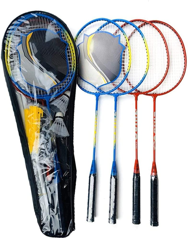 Laideyilan Badminton Set Portable Badminton Combo Set 4 Rackets with Net Pole Net System for Patio Backyard Beach Outdoor Game Kiddie Family Friends