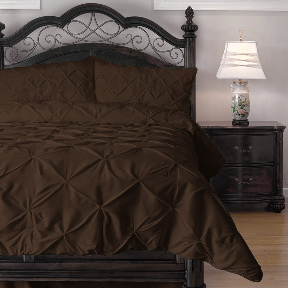 ExceptionalSheets Pinch Pleat Puckering 4 Piece Comforter Set, Queen, Chocolate