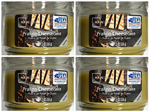 Mainstays 11.5oz Scented Candle, Praline Cheesecake 4-Pack