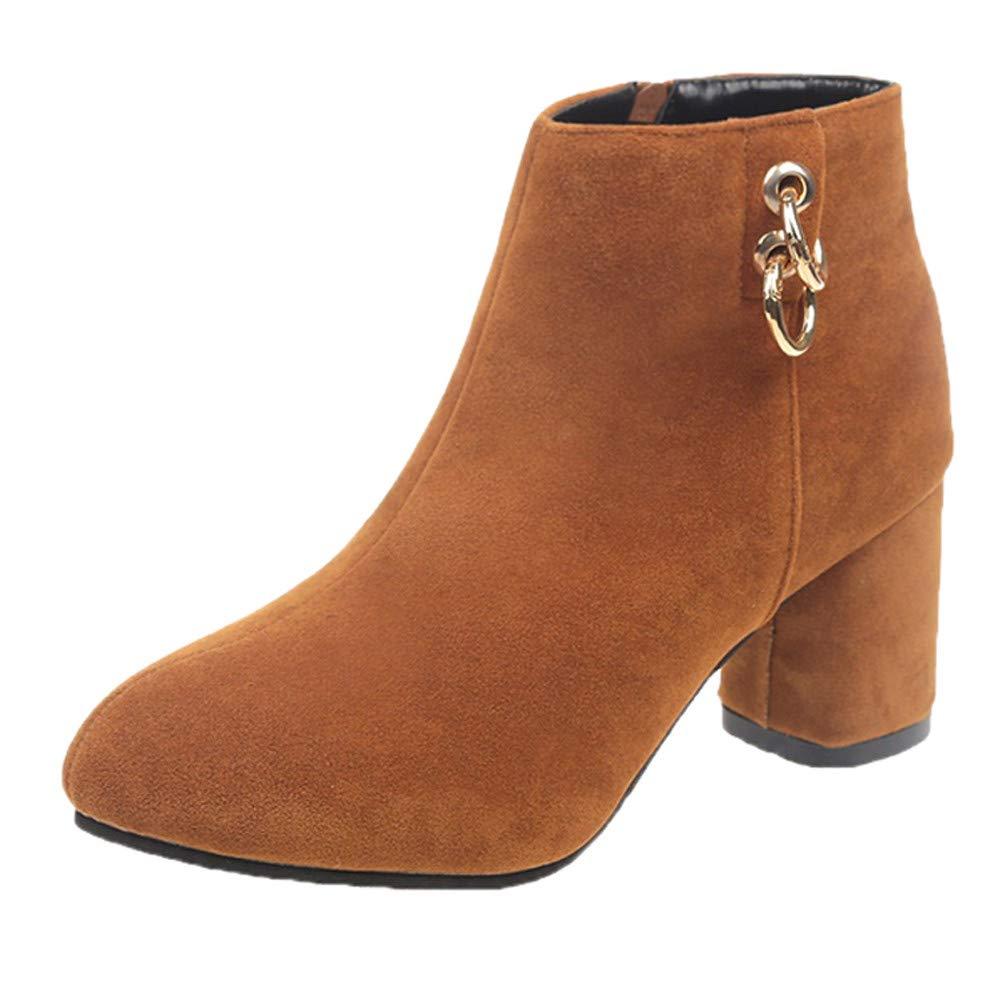 Chaussures Femmes.Sonnena Femmes Bottes Chaussures à Talons Hauts Hiver Chaud Bout Rond Couleur Unie Suède Bottes Fermeture à Glissière