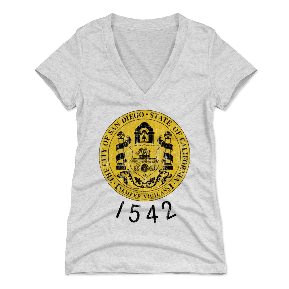 San Diego Shirt for Women (Women's V-Neck, Small, Tri Ash) - San Diego California by 500 LEVEL
