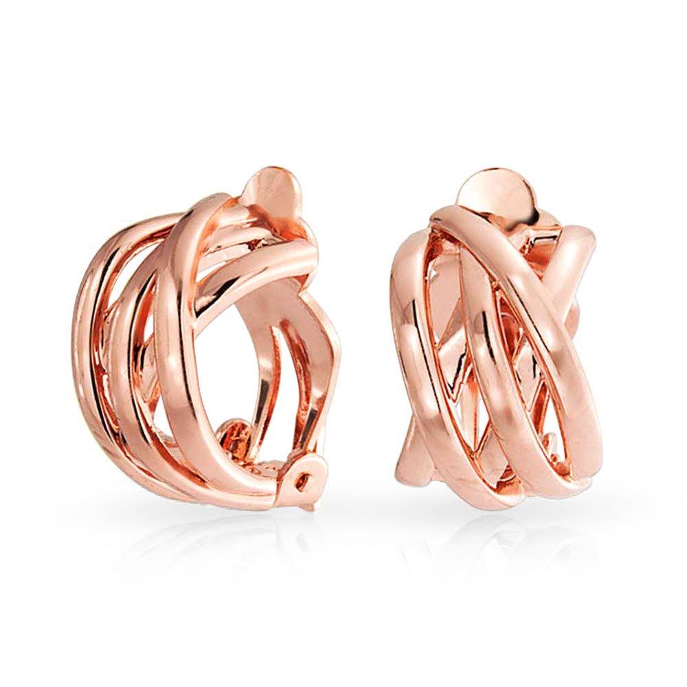 Bling Jewelry Rose Gold Plated Criss Cross Half Hoop Clip On Earrings ELG-503397-RG