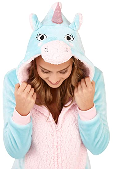 LD Outlet Womens Onesies Full Length Aqua//Pink Unicorn Large