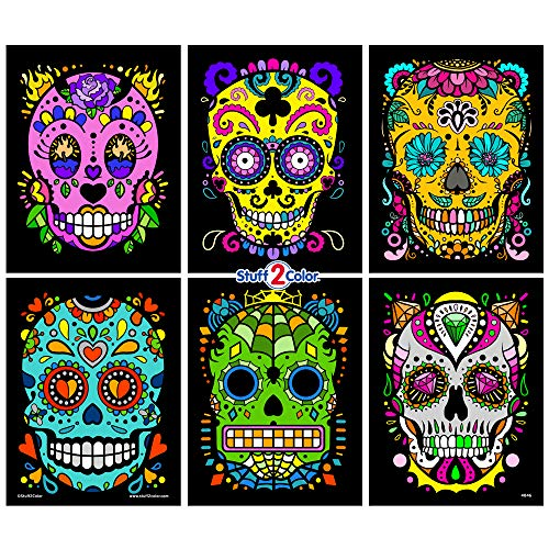 Stuff2Color Sugar Skulls Fuzzy Velvet Coloring Posters (Day of The Dead) - 6 Pack - Arrives Uncolored