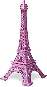 JoyFamily Eiffel Tower Decor, 7Inch (18cm) Metal Paris Eiffel Tower Statue Figurine Replica Drawing Room Table Decor Jewelry Stand Holder for Cake Topper, Gifts, Party and Home Decoration