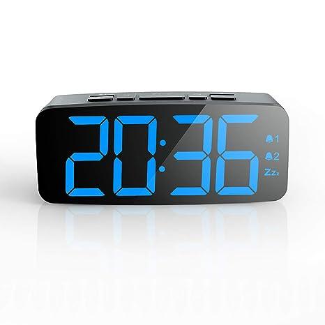 Pingko Reloj Despertador Digital Pantalla LED Inteligente, función de repetición, Brillo Ajustable, pequeño