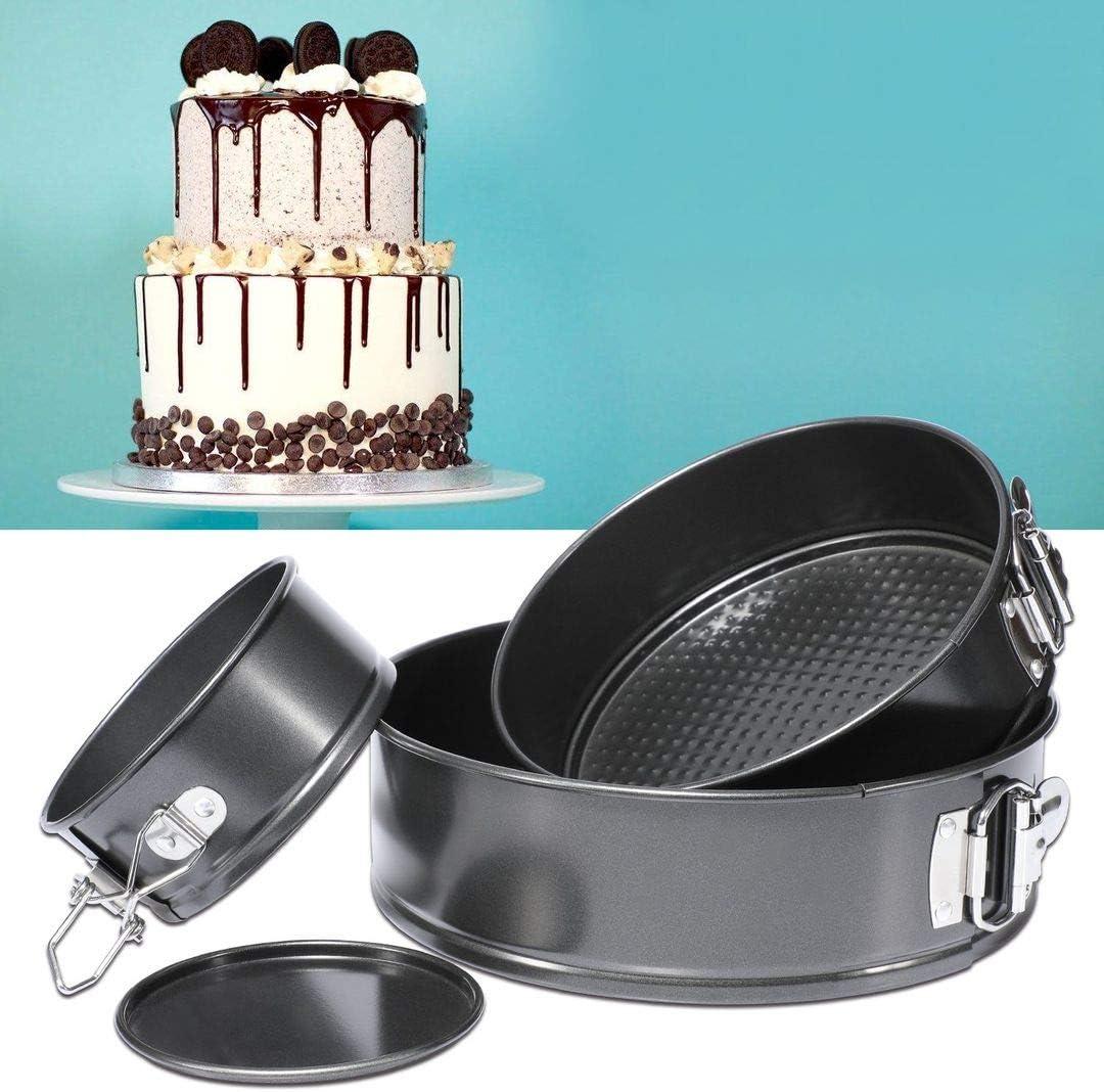 Tosnail Set di 3 teglie antiaderenti per torte con fondo rimovibile