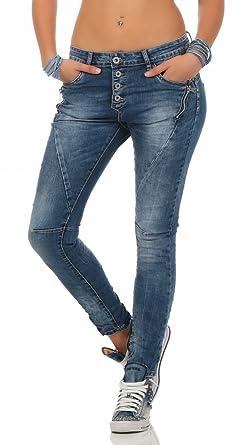 Fashion4Young LEXXURY Damen Jeans Röhrenjeans Hose Boyfriend