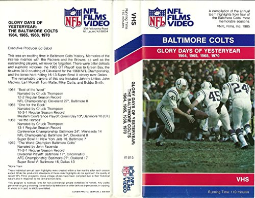 Glory Days of Yesteryear: The Baltimore Colts 1964, 1965, 1968, 1970 (VHS) 1968 Baltimore Colts