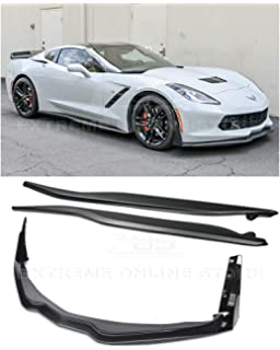 ABS Plastic - Painted Carbon Flash Metallic Replacement For 2014-2019 Corvette C7 Z06 Stage 2 Front Bumper Lip Splitter With Side Skirts Rocker Panels /& Rear Spoiler Full Assembly Combo Kit