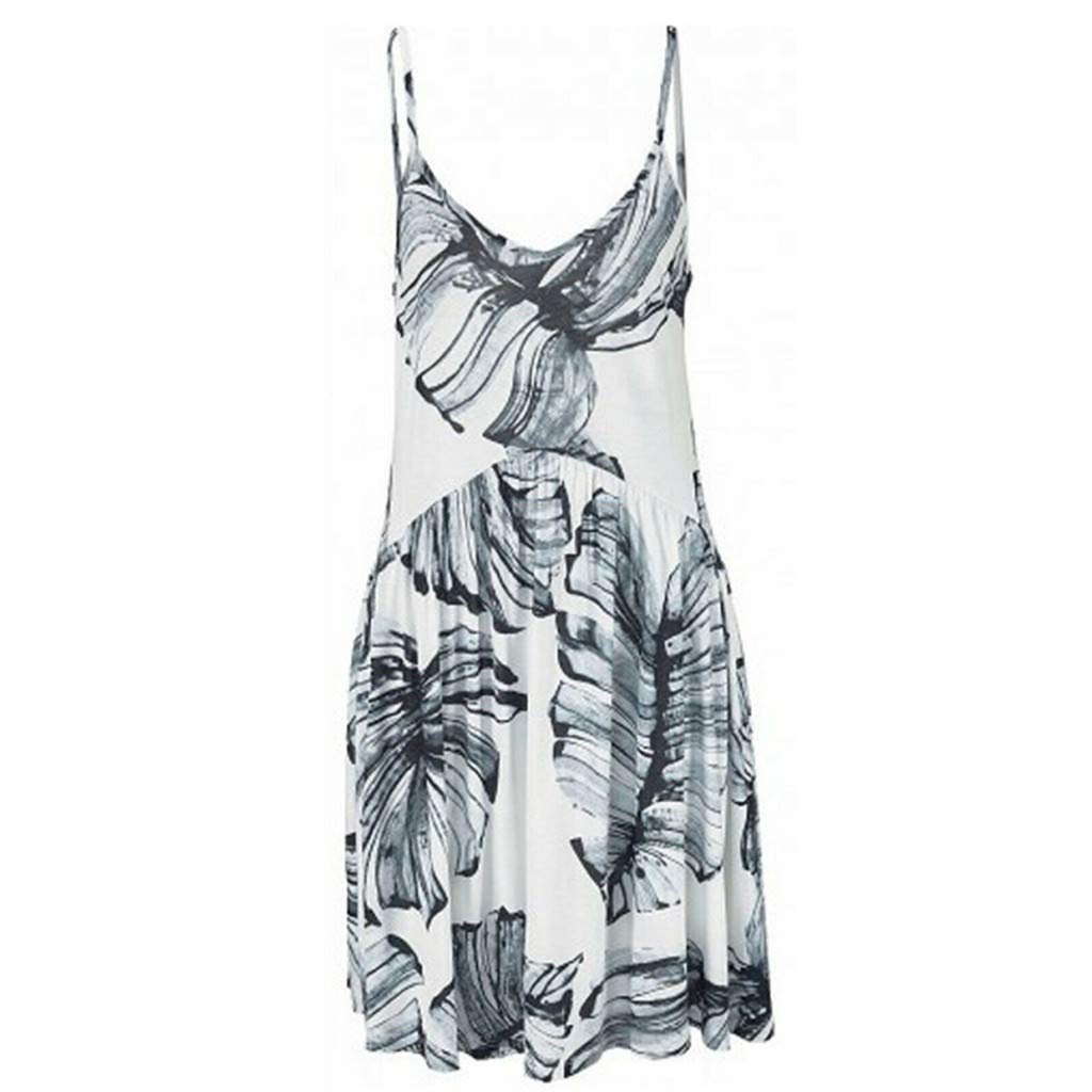 Clothful  Women Dress, Fashion Womens Camisole V-Neck Leaf Printing Sleeveless Mini Dress Gray by Clothful (Image #1)