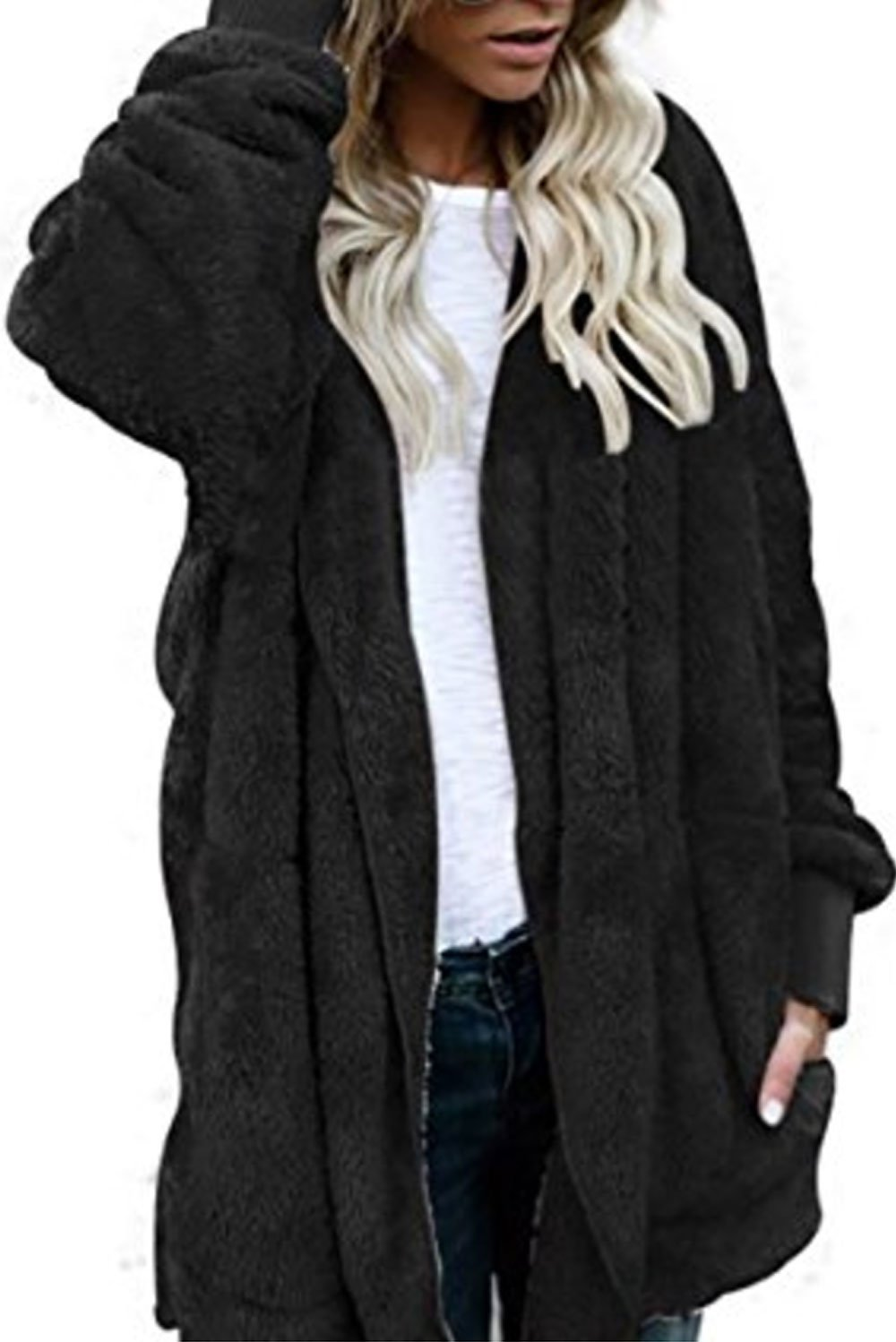 Women Fashion Fleece Sherpa Jacket Hooded Coat with Pocket Winter Warm Outwear Black by Fantasy Star (US 4-6)S