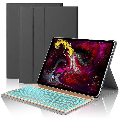 iPad Pro 11 Español Teclado Funda,Dingrich Bluetooth inalámbrico QWERTY Teclado Case Pare iPad Pro