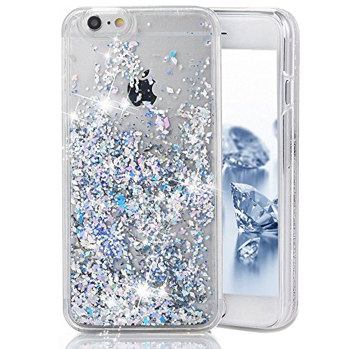 iPhone SE Case, Liquid Case for iPhone SE 5 5s, Surpriseyou 3D Creative Design Shiny Quicksand Moving Bling Glitter Sparkle Diamonds Flowing Clear Hard Case for iPhone SE/5S/5 (Silver Diamonds) (Design Silver Stars Case)