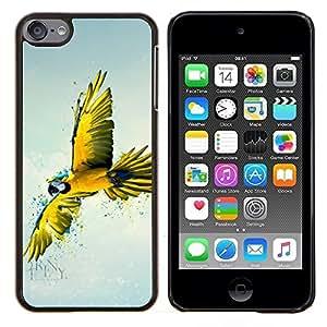 Eason Shop / Premium SLIM PC / Aliminium Casa Carcasa Funda Case Bandera Cover - Amarilla del arte del loro - For Apple iPod Touch 6 6th Touch6