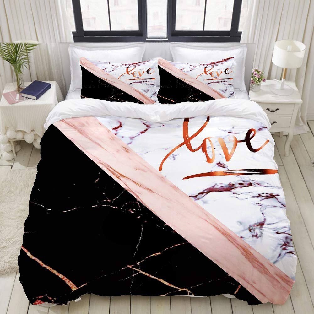 LUBATAGA Duvet Cover Set,Elegant Rose Gold Faux Marble with Love, Decorative 3 Piece Bedding Set with 2 Pillow Shams,Queen