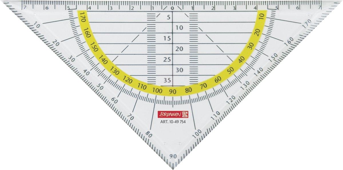 10 Stück Brunnen 1049754 Geometrie-Dreieck / Geodreieck für Schule und Büro 16 cm, glasklar)