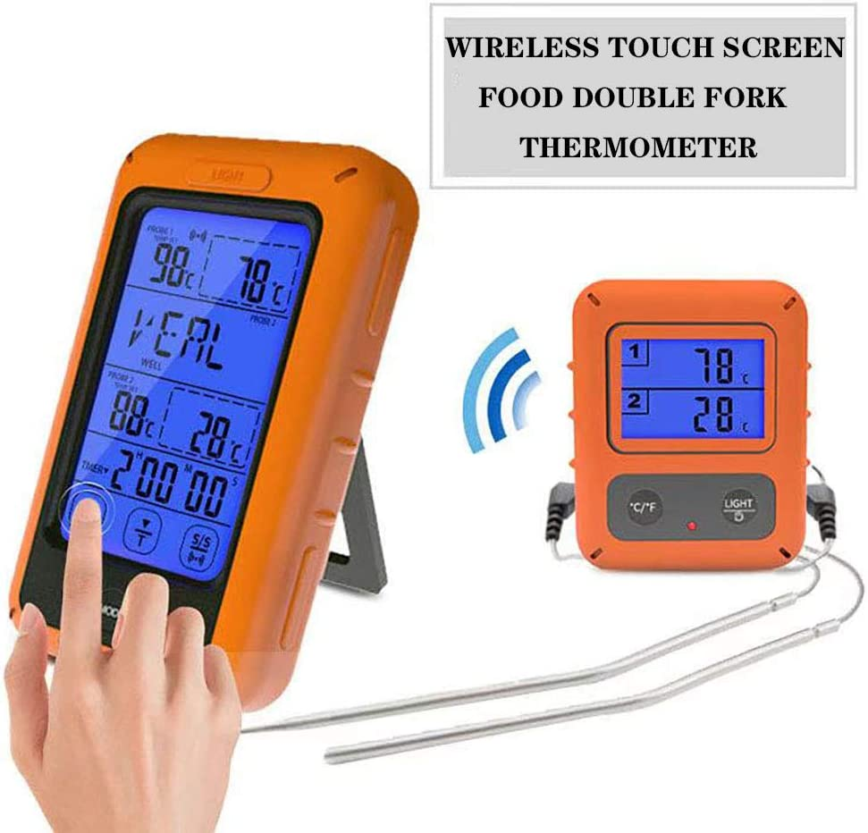 Meat Thermometer –Touchscreen Wireless Remote Cooking Thermometer Touchscreen Digital Food Thermometer with Dual Probe Backlight, Alarm,Timer BBQ Meat Thermometer Oven Safe for Smoker Grill Kitchen