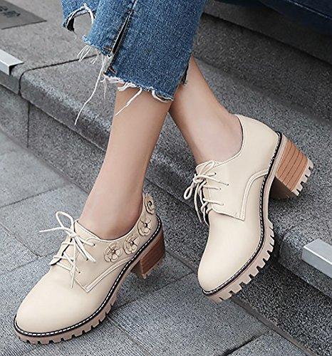 Zapatos beige con cordones de punta redonda oficinas para mujer jZ5PIzvO