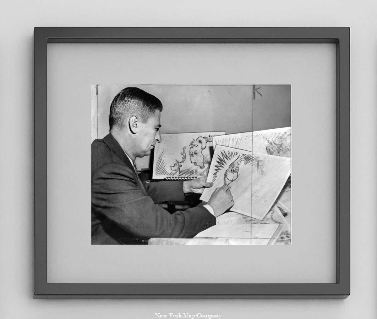 How the Grinch Stole Christmas // World Telegram /& Sun photo by Al Ravenna at work on a drawing of a grinch Vintage 8x10 Photograph the hero of his forthcoming book Seuss 1957 photo Dr Ready to Frame Ted Geisel