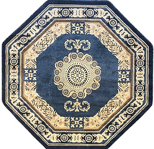 Americana Traditional Octagon Persian Area Rug Light Blue Beige & Ivory Carpet King Design 121 (7 Feet 3 Inch X 7 Feet 3 Inch)