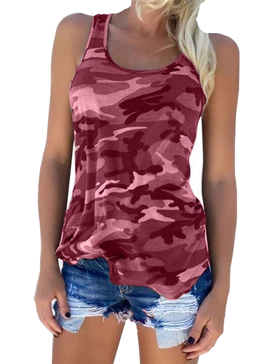 Zcavy Womens Activewear Tops Camouflage Print Cotton Stretchy Tee Racerback Tanks Tops
