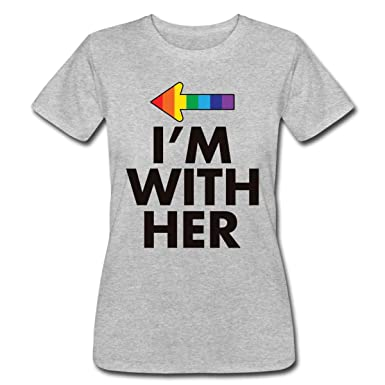 e6c01382 Spreadshirt Lesbian Couples I'm with Her Left Part Women's Fine Jersey T -Shirt