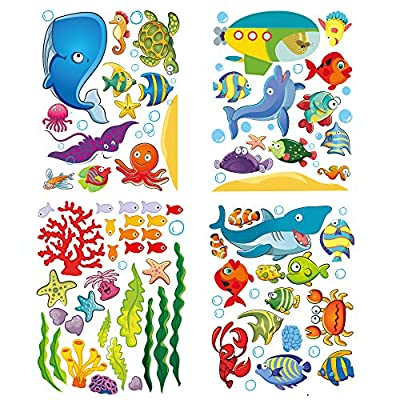 Under The Sea Stickers for Kids, Fish Wall Decals for Toddlers' Bedroom, Bathroom, and Window, Baby's Nursery, and Children's Classroom, Peel and Stick Ocean Decorations That Clings, Removable Vinyl