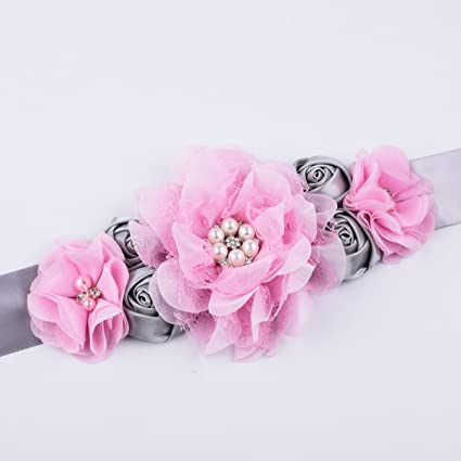 Amazon.com: RoyaLily Handmade Flower Sash Belt for Maternity Pregnancy Baby Shower Wedding Party (#Grey Pink): Clothing
