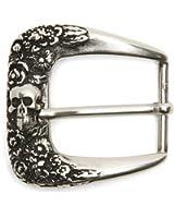 VaModa Dornschließe Wechselschließe Gürtelschnalle Buckle'Skullflower Silber'