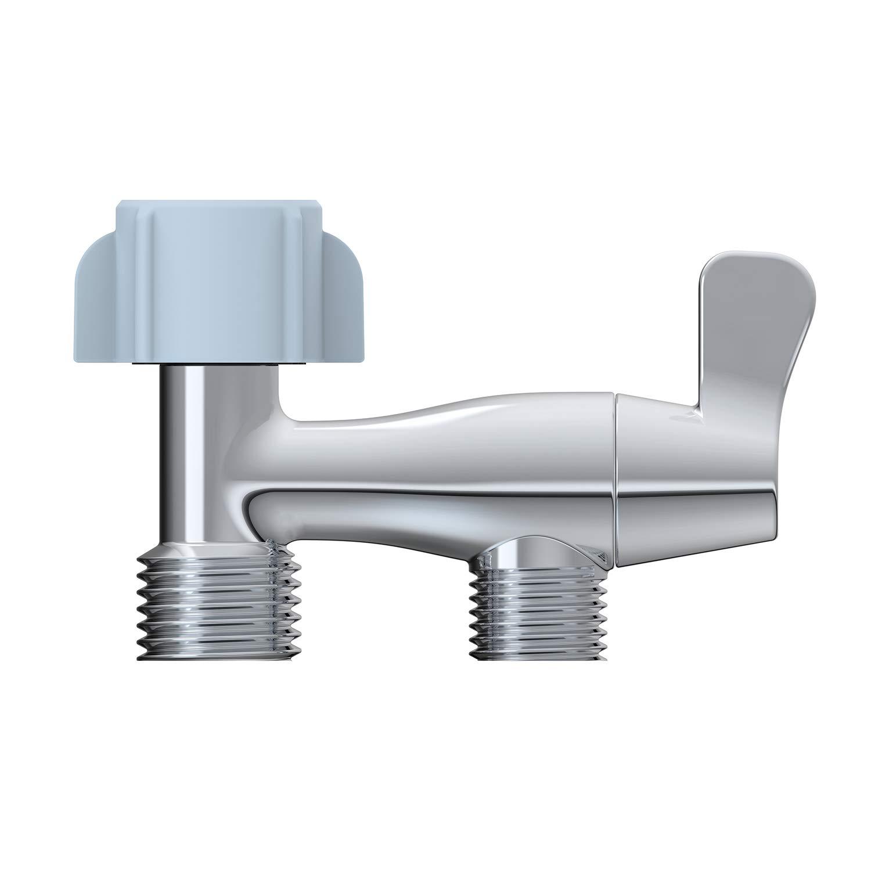 Hibbent No Leaking Design Metal Bidet T-adapter with Shut-off Valve,Tool-free Installation by Hand Tighten Nut, 3-way Toilet Tee Connector Water Diverter Valve for Bidet Attachement - Polished Chrome