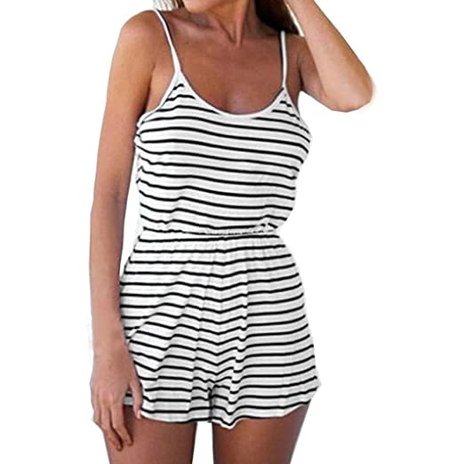 c186390a4e58 WELCOMEUNI Jumpsuits for Women Sleeveless Casual Ladies Summer Beach Cotton  Striped Backless Vest Spaghetti Strap Romper