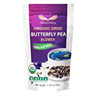 GiveOrBuy Butterfly Pea Flower Tea Organic 1.75 oz (50 g) - Vegan Rich Healthy Herbal Blue Tea - Dried Clitoria Ternatea Flowers for Drinks, Food Coloring