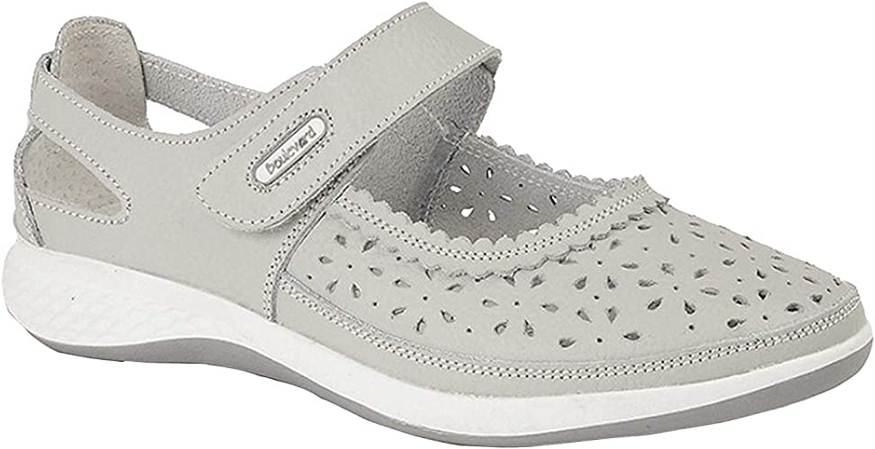 Boulevard Womens//Ladies Touch Fastening EEE Fit Suede Shoes