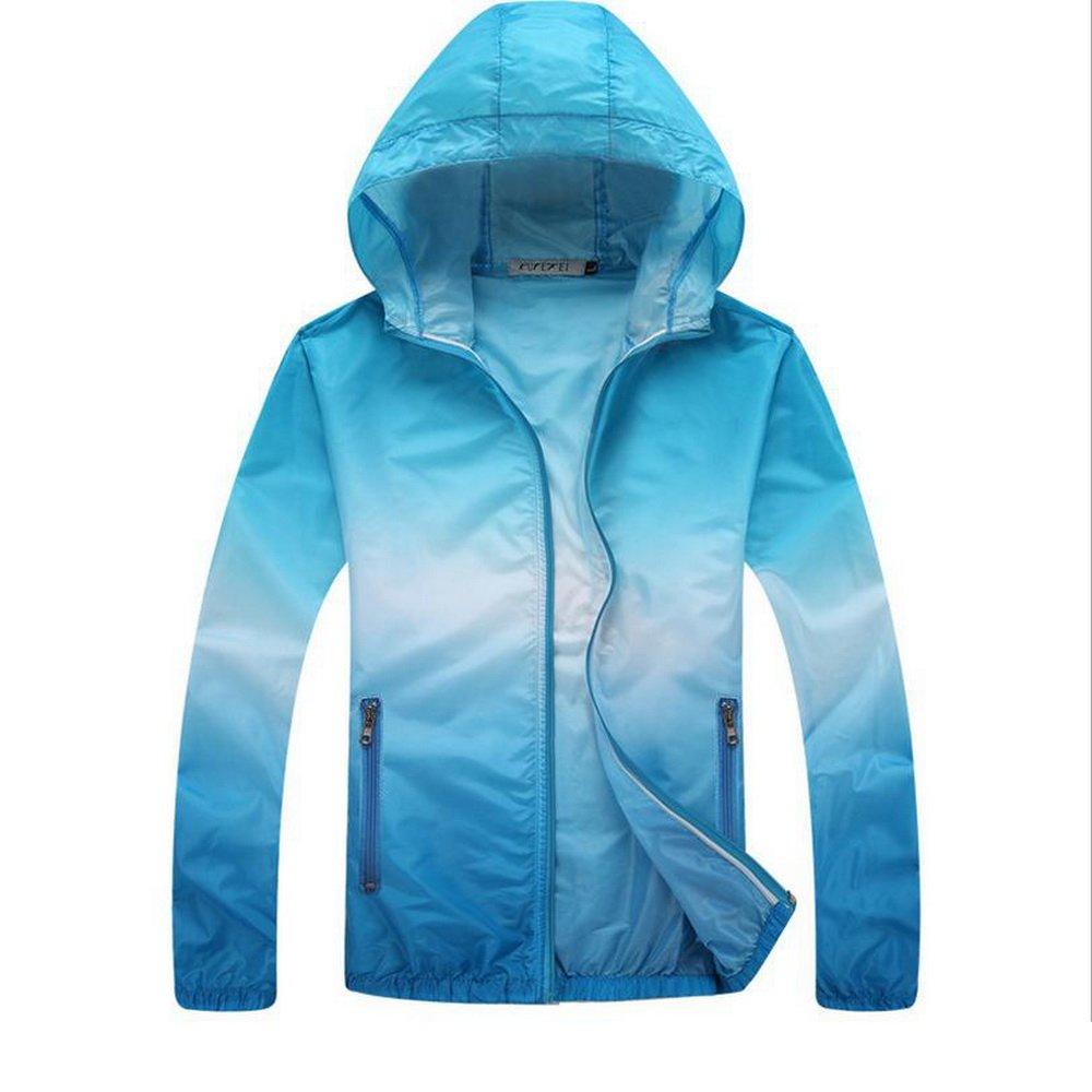 Unisex Skin Coat Anti UV Water Resistant Lightweight Outdoor Hoodie Cycling Running Windbreaker Jacket with Zipper