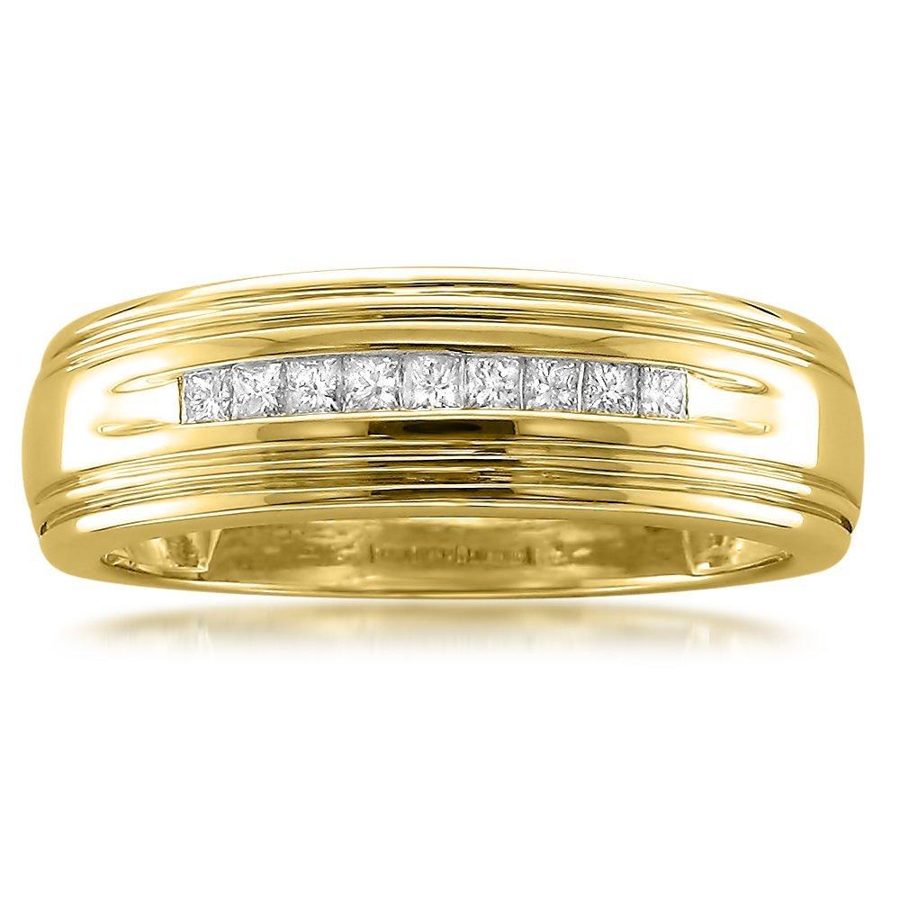 La4ve Diamonds 14k Yellow Gold Princess-cut Diamond Men's Wedding Band Ring (1/4 cttw, I-J, I1-I2), Size 12