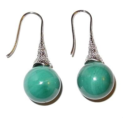 Elegant Malachite Gemstone Drop Earrings Green Crystal Healing Stone