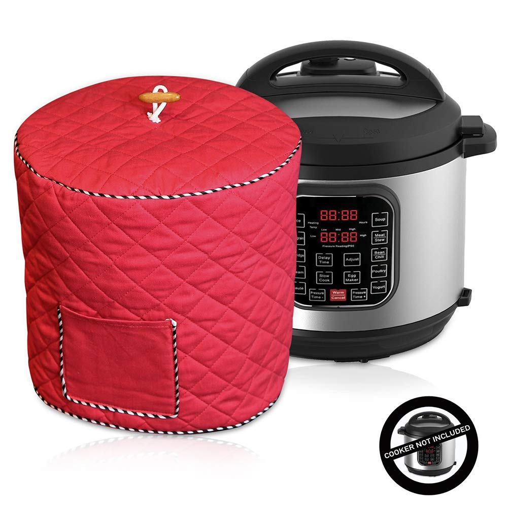 Decorative Cover for Electric Pressure Cookers Has Pocket, Anti Static Dust Cover with Interior Lining & Side Pocket - Fits 6QT Instant Pot 8QD Pressure Cooker(6Qt,Red)