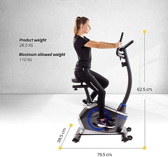 TechFit B410 Bicicleta estática de Ejercicio, Magnética, Máquina de Cardio de la Resistencia de la Pérdida de Peso con la Silla de Montar Ajustable, los Sensores del Pulso y el Monitor LCD: