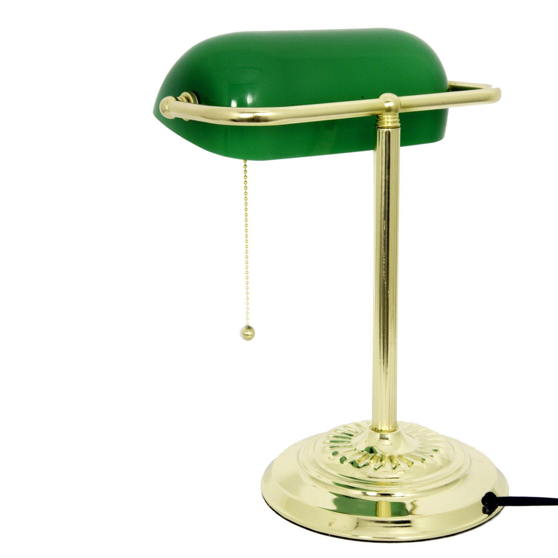 LightAccents Metal Bankers Desk Lamp Glass Shade Brass Desk – Green Desk Lamps