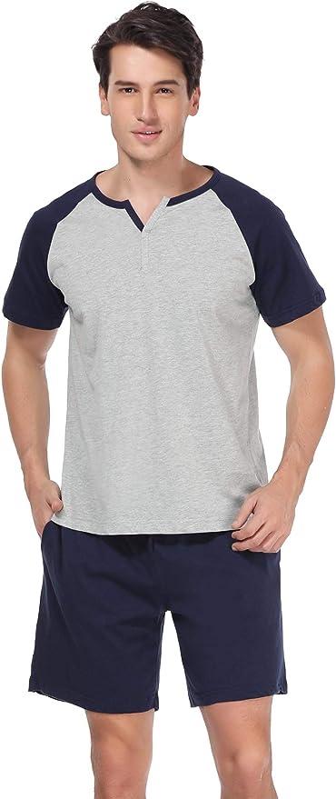 Aibrou Pijama Hombre Verano Corto de 100% Algodón Pijamas de Hombre Verano con Pantalón Talla Grande: Amazon.es: Ropa y accesorios
