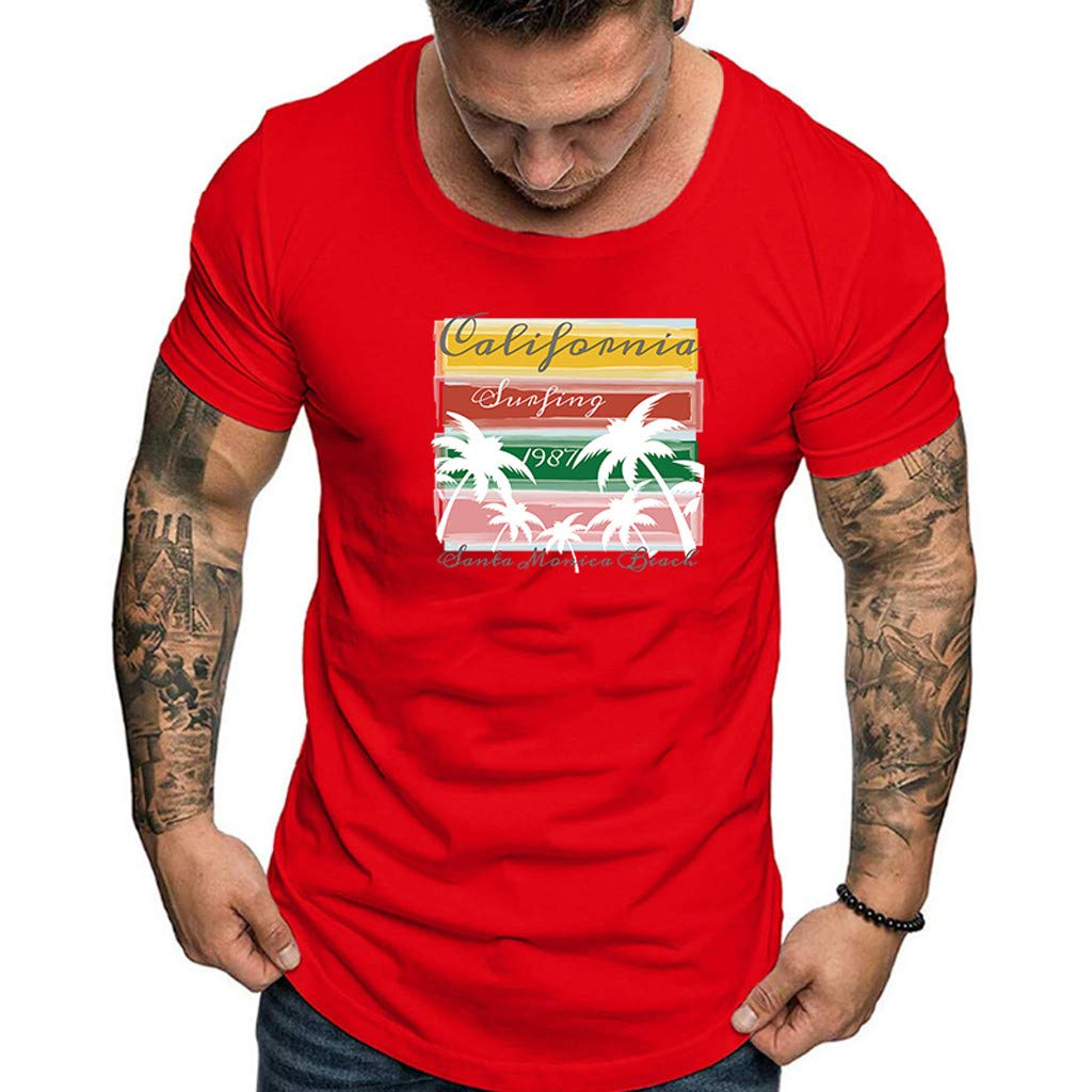 Men Fashion Solid Printing Style Cotton Design T-Shirt Casual Shirts Tops Blouse